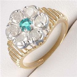 1.0 Ctw. Diamond &  Emerald Ring In 10ky Gold
