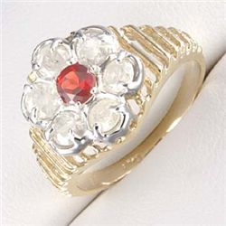 1.0 Ctw. Diamond &  Ruby Ring In 10 Ky Gold