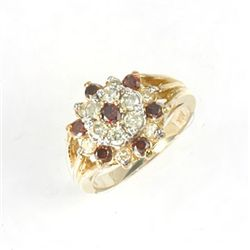 1.25 Ctw. Red & White Diamond Ring In 10ky Gold Setting