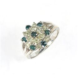 1.25 Ctw. Blue & White Diamond Ring In 10kw Gold