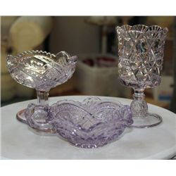 Set Of Vintage Lavender Cut Glass - 3 Pieces