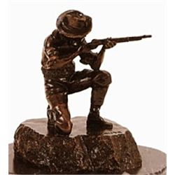 """Kneeling Trooper"" Bronze Sculpture - Kauba"