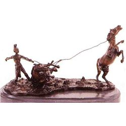 """Lassoed Mustang"" Bronze Sculpture - Kauba"