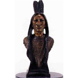"""Indian Bust"" Bronze Sculpture - Bachman"