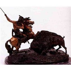 """Buffalo Hunt"" Bronze Sculpture - Bau"