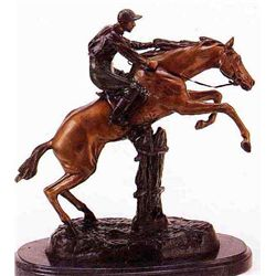 """Jumping Horse With Jockey"" Bronze Sculpture - Bofill"