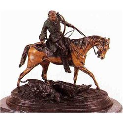 """Mounted Hunter With Two Hounds"" Bronze Sculpture - Mene"