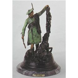 """Scottish Hunter With Fox"" Bronze Sculpture - Mene"