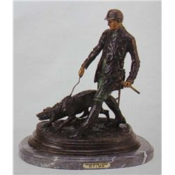 """English Hunter With Hound"" Bronze Sculpture - Mene"