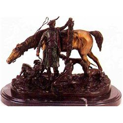 """After The Hunt In Scotland"" Bronze Sculpture - Mene"
