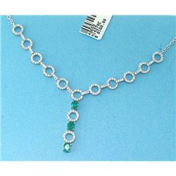 18K GOLD EMERALD AND DIAMOND NECKLACE