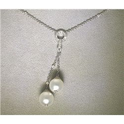 18K GOLD DIAMOND AND PEARL NECKLACE