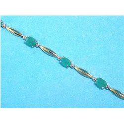 14K GOLD EMERALD AND DIAMOND BRACELET