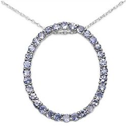 2.24 Carat Genuine Tanzanite .925 Sterling Silver Pendant