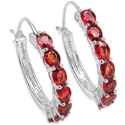 3.50 Carat Orange Sapphire .925 Sterling Silver Earrings