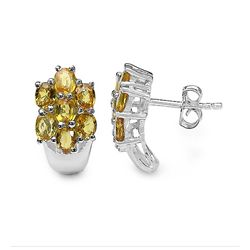 3.50 Carat Genuine Yellow Sapphire .925 Sterling Silver Earrings