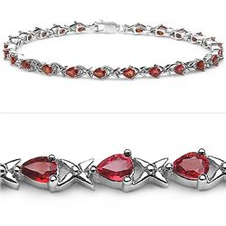 4.80 Carat Genuine Sapphire Orange .925 Sterling Silver Bracelet