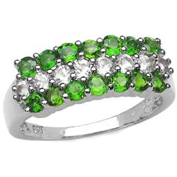 1.62 Carat Genuine Chrome Diopside & White Topaz .925 Sterling Silver Ring