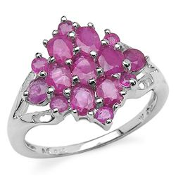 2.33 Carat Genuine Ruby .925 Sterling Silver Ring