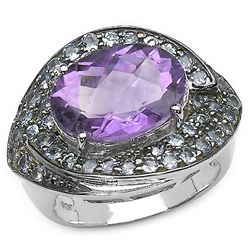 4.00 Carat Genuine Amethyst & Tanzanite .925 Sterling Silver Ring