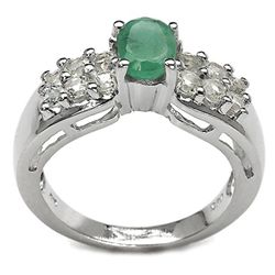 1.69 Carat Genuine Emerald & White Topaz .925 Sterling Silver Ring
