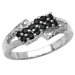 0.48 Carat Genuine Sapphire .925 Sterling Silver Ring