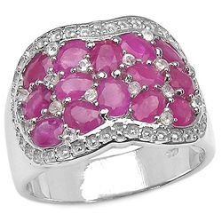 3.68 Carat Genuine Ruby & White Topaz .925 Sterling Silver Ring
