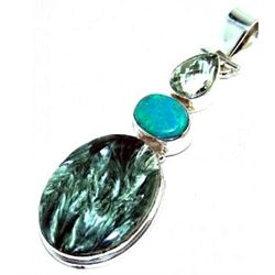 Serphinite, Turquoise & Green Amethyst Pendant
