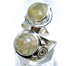 Silver and Golden Rutilated Quartz Ring