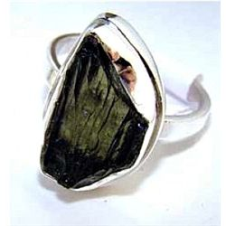 Silver and Moldavite Ring