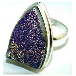 Silver and Titanium Drusy Ring