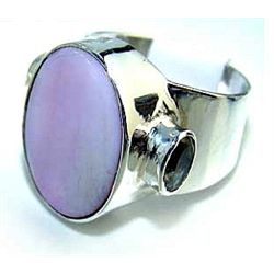 Silver and Pink Opal & Amethyst Ring