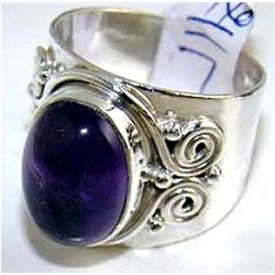Silver and Amethyst Cabochon Ring