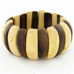 Stretch Monkey Pod & Teak Bracelet (JEW-4363)