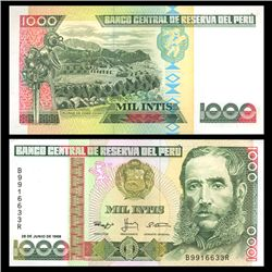 1988 Peru 1000 Intis Crisp Uncirculated Note (CUR-05843)