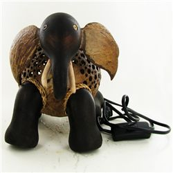 Coconut Shell Teak Elephant Lamp (DEC-685)
