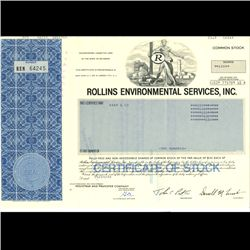 1980s Rollins Intl Stock Certif Scarce Blue (COI-3352)