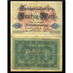1914 Germany 50 Mark Note Hi Grade Very Scarce (CUR-05663)