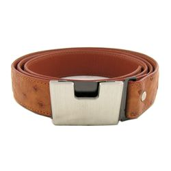 "Brown Ostrich Belt 48"" New (ACT-291)"