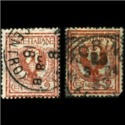 1901 Scarce Italy 2c Stamp Pair Color Var (STM-1250)