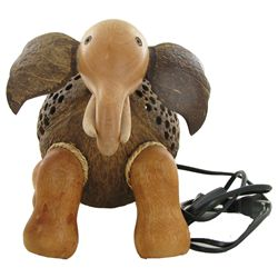 Coconut Shell Teak Elephant Lamp (DEC-682)
