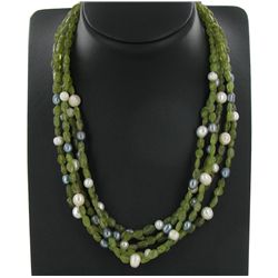 550twc Peridot Pearl Bead Necklace (JEW-3646)