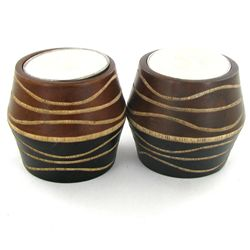 Mango Wood Candle Holder Pair (DEC-757)