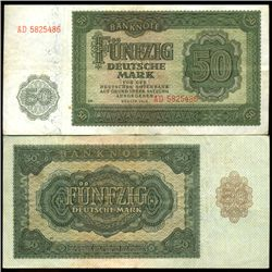 1948 E Germany 50 Mk Note Hi Grade Scarce Variety  (COI-3944)
