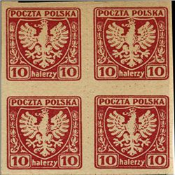 1919 Poland 10h Eagle Imperf 4 Block Variety (STM-0461)