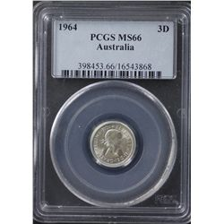 1964 Threepence PCGS MS66