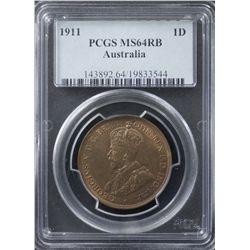 1911 Penny PCGS MS64RB