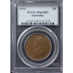 1915 Penny PCGS MS64 Brown