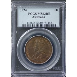 1924 Penny PCGS MS63 RB