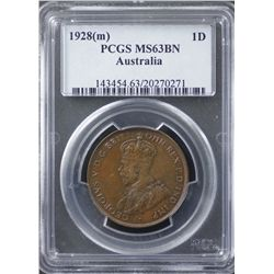 1928 Penny PCGS MS63 Brown